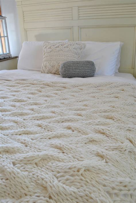 Chunky Cable Knit Blanket In Cream Irish Wool By