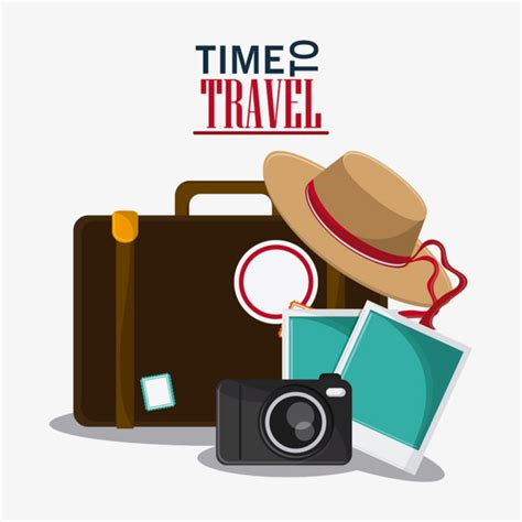 travel clip creative travel travel clipart suitcase hat png image