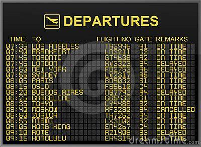 Tableau Intl international airport departures board royalty free stock