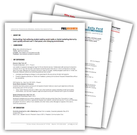 Free Marketing Resume Template 10 Sles For Download Hubspot Resume Templates