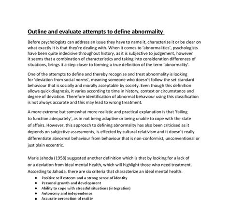 Outline And Evaluate One Definition Of Abnormality by Outline And Evaluate Attempts To Define Abnormality A Level Psychology Marked By Teachers