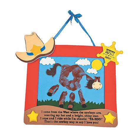 cowboy crafts for self adhesive ranch handprint keepsake craft kit