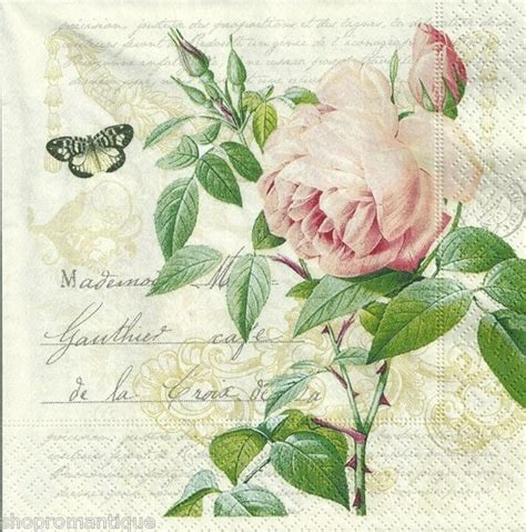 Vintage Decoupage Paper Uk - 4 x single paper napkins vintage style botanical