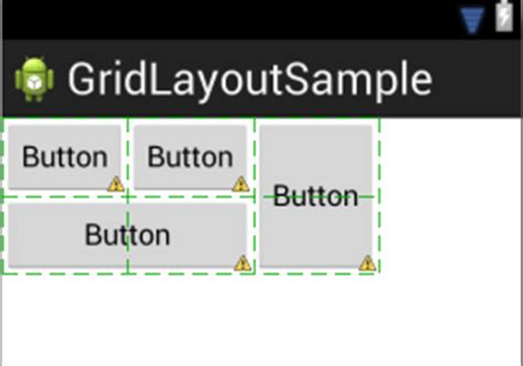 android gridlayout exle using the android gridlayout manager in the graphical layout tool techotopia