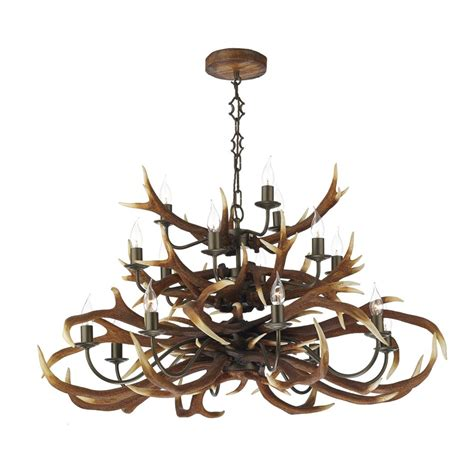Stag Horn Chandelier Large Stag Antler Ceiling Pendant Light With 18 Separate