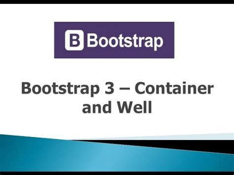 bootstrap tutorial container bootstrap 3 tutorials 3 container and well youtube