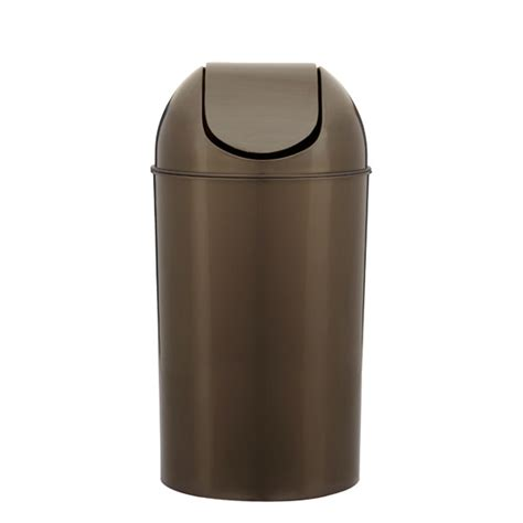 swing lid trash can umbra pewter 10 gal swing lid grand trash can the