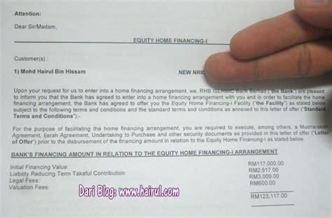 Offer Letter Loan Rumah Pinjaman Perumahan Saya Berjaya Tima Kasih Rhb Bank Hairul
