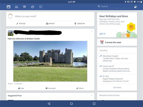 layout android facebook facebook have a new tablet optimised layout i ever