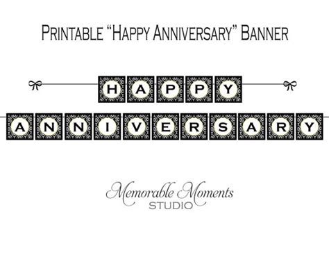 printable happy anniversary banner instant download printable happy anniversary banner black