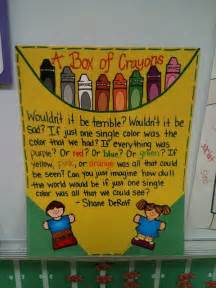 a box of crayons back to school diversity bulletin board