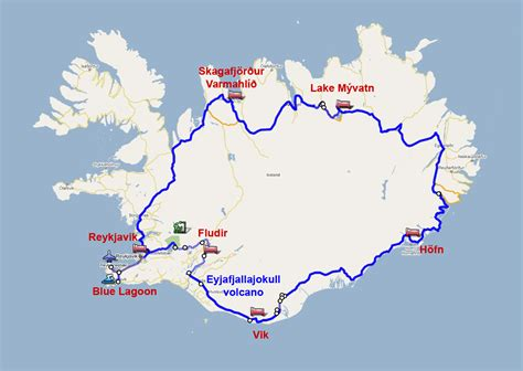 map us highway 1 iceland map route 1