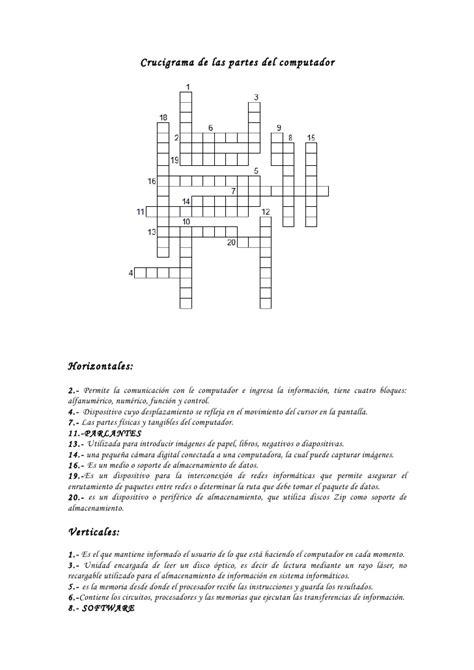 preguntas dificiles de informatica crucigrama partes del computador