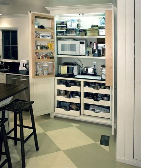 15 Organization Ideas For Small Pantries Kitchen Appliance Cabinet Storage