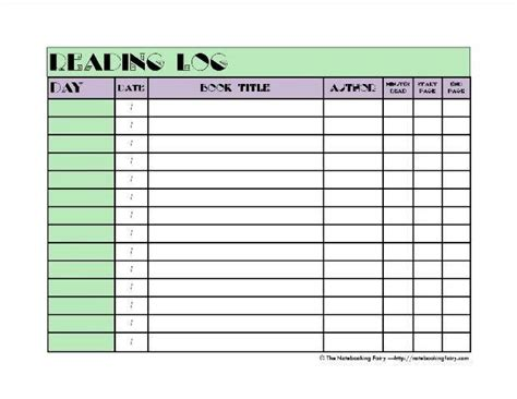 printable reading log high school reading logs notebooking fairy