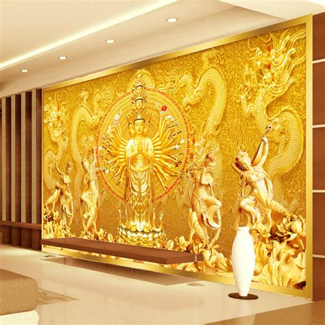 3d Wall Designs Bedroom Aliexpress Buy Gold Buddha Photo Wallpaper Custom 3d Wall Mural Avalokitesvara Wallpaper