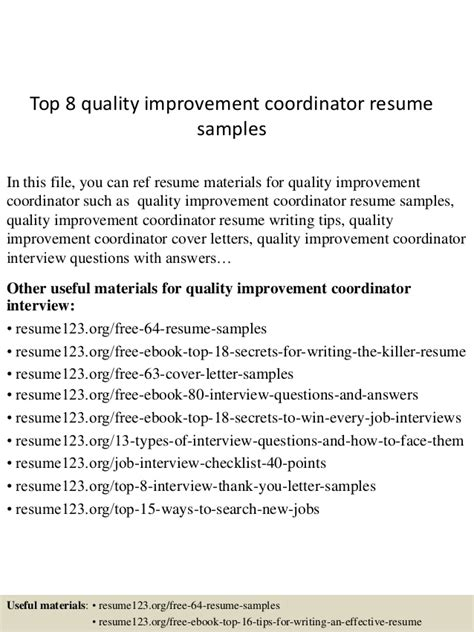 Quality Improvement Specialist Cover Letter by Top 8 Quality Improvement Coordinator Resume Sles