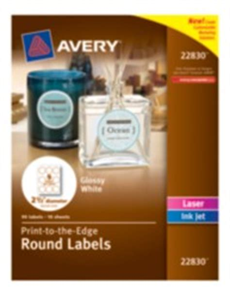 Marketing Solutions Avery 174 Print To The Edge Round Labels 22830 Glossy White 2 1 2 Quot Diameter Avery 22830 Template