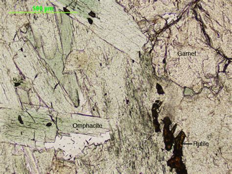 Omphacite Thin Section by Index Of Geosciences Petrology Petrography Omphacite