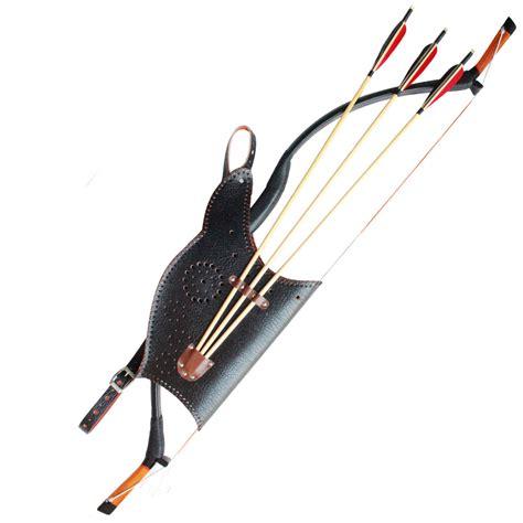 Handmade Bow And Arrows - new archery set black leather longbow 3pcs handmade wood