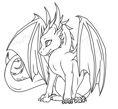 baby dragon lineart by sweetsasu on deviantart