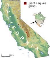 redwood trees in california map sequoias in california