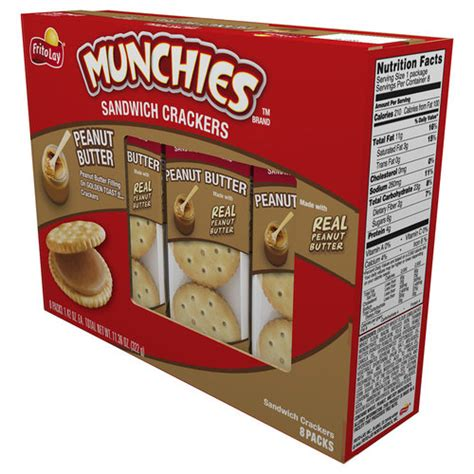 Munchys Cracker Sandwich With Butter munchies peanut butter sandwich crackers 1 42 oz 8 count walmart