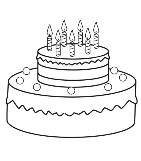 Free Coloring Pages Of Pretty Cake Birthday Cake Color Page