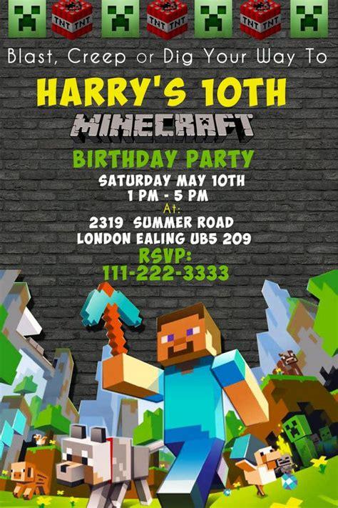 new minecraft birthday party invitations for additional birthday