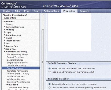 xerox workflow scanning setup display settings on touch user interface customer