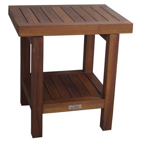 Aqua teak spa stool with shelf 17 in wide shower seats at hayneedle
