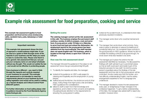 food safety risk assessment template sle risk assessment by allen issuu