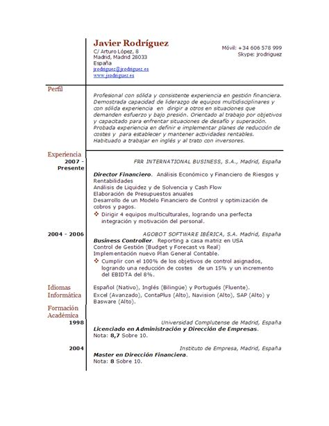 Modelo De Curriculum De Trabajo Sencillo Programa Curriculum Vitae Listo Para Completar Mi