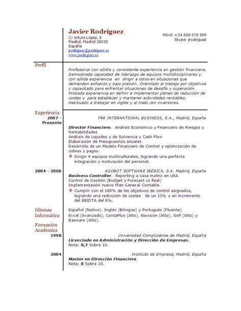 Modelo De Curriculum Vitae Cronologico Para Completar Curriculum Vitae Listo Para Completar