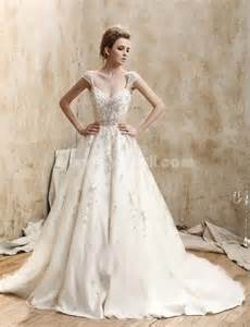 ball gown v neck court train re embroidered lace wedding
