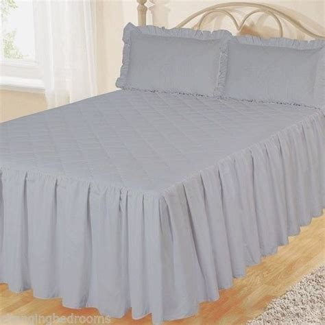 Cotton Quilted Bedspread Changingbedrooms King Size Grey Fitted Cotton