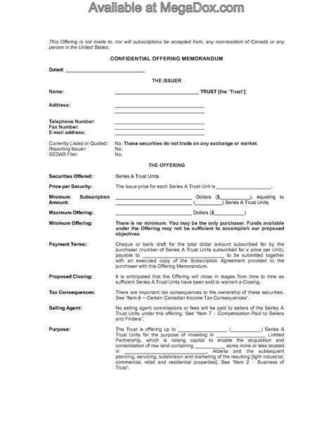 Alberta Offering Memorandum For Real Estate Investment Trust Legal Forms And Business Offering Memorandum Template