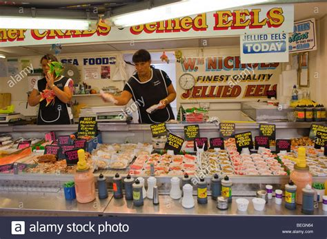 great yarmouth indoor market great yarmouth united kingdom jellied eels and sea foods for sale on a stall at the