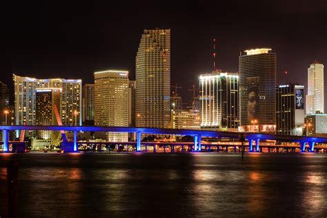 miami city skyline at night south beach miami best travel sites tag