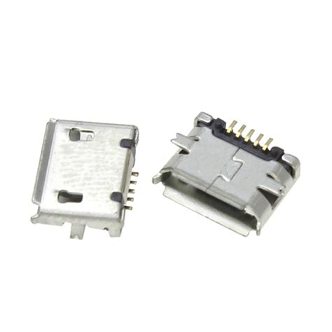 Soket Micro Usb Cewek Board Usb 01 1 10pcs micro usb type b 5pin smt socket connectors port pcb board in connectors from