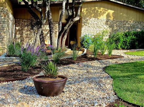 ideas gravel ideas for backyard landscaping with trees