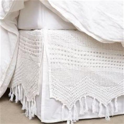 anthropologie bed skirt fringe crochet bedskirt by anthropologie white