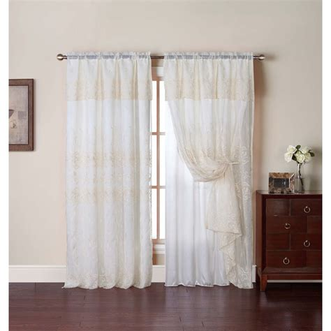 drapes with attached valance vcny adrianna embroidered curtain panel with attached