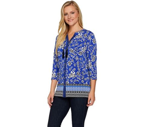 susan graver liquid knit susan graver printed liquid knit button front shirt qvc