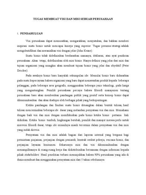Maestro Bisnis Drucker 2 visi misi perusahaan