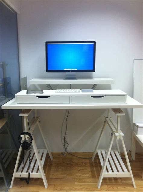 standing desk options white ikea standing desk hack for imac minimalist desk design ideas