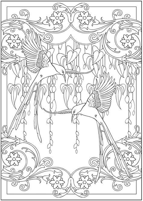 art nouveau coloring page welcome to dover publications