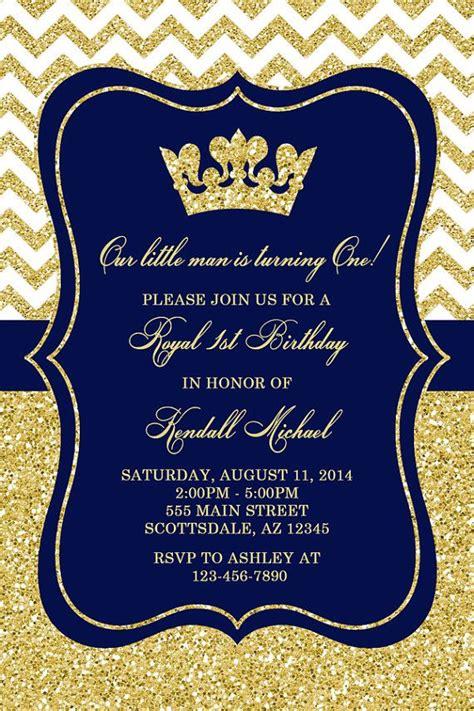theme creator gold prince birthday party invitation royal blue gold birthday