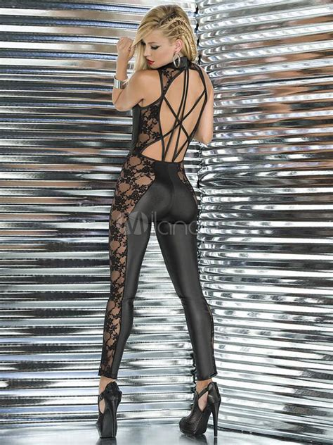 red pole dance clothes lace jumpsuits skinny womens sexy