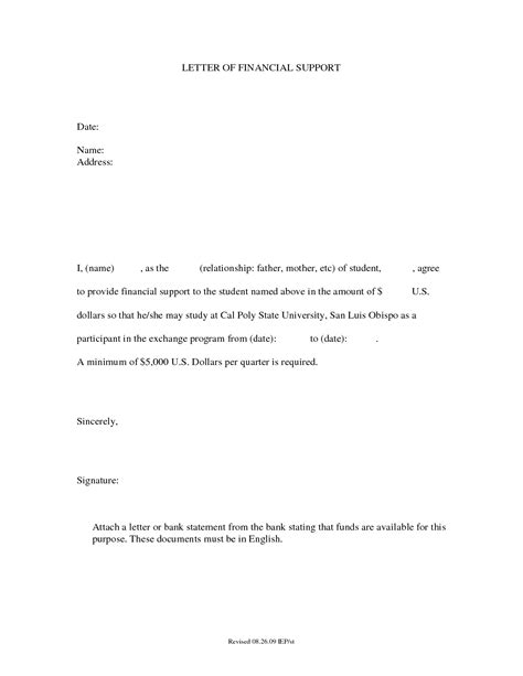 Financial Support Letter Template letter of financial support how to format cover letter
